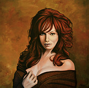 Saffron Framed Prints - Christina Hendricks Framed Print by Paul  Meijering