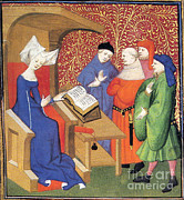 Christine De Pizan Lecturing To Men Print by Photo Researchers