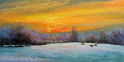 Winter Scene Pastels Prints - Christines World Print by Christine Bass
