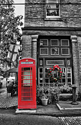 Brick Street Framed Prints - Christmas - The Red Telephone Box and Christmas Wreath II Framed Print by Lee Dos Santos