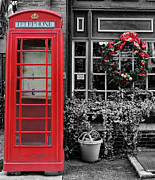 Brick Street Framed Prints - Christmas - The Red Telephone Box and Christmas Wreath III Framed Print by Lee Dos Santos