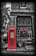 Brick Street Framed Prints - Christmas - The Red Telephone Box and Christmas Wreath Framed Print by Lee Dos Santos