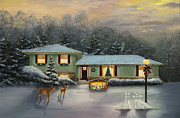 Snow Scene Art - Christmas 2011 by Cecilia  Brendel