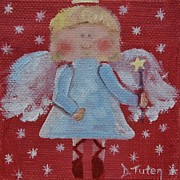 Caricature Painting Framed Prints - Christmas Angel Framed Print by Donna Tuten