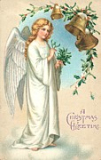 Card Drawings Prints - Christmas Angel Print by English School