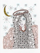 Zia Drawings - Christmas Angel by Paula Dickerhoff