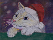 Cute Kitten Pastels Posters - Christmas Anticipation Poster by Sam Adele Haggan