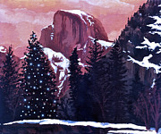 Half Dome Painting Prints - Christmas at Half Dome Print by Sara Coolidge