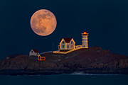Nubble Lighthouse Posters - Christmas at Nubble Poster by Dale J Martin