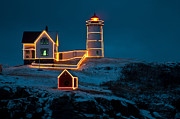 Nubble Light House Posters - Christmas at Nubble Light Poster by Paul Mangold