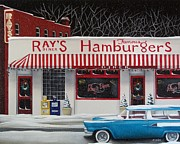 Primitive Folk Art Prints - Christmas at Rays Diner Print by Catherine Holman