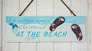 Beach Sign Framed Prints - Christmas At The Beach Framed Print by Betty LaRue
