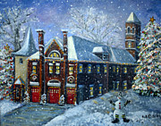 Moody Paintings - Christmas at the Fire House by Rita Brown