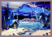 Moonlit Night Prints - Christmas at the Lake Print by Ronald Chambers
