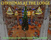 The Christmas Tree Posters - Christmas at the Lodge with Postcard Style text Poster by David Lee Thompson