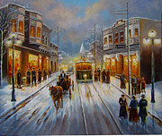 Lit Painting Framed Prints - Christmas atmosphere in a Small town America in 1900 Framed Print by Gina Femrite