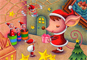 Christmas Eve Drawings - Christmas Attic by T Koni