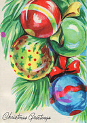 Cards Vintage Digital Art Prints - Christmas Balls Print by Munir Alawi