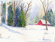 Red Barn. New England Prints - Christmas Barn Print by Janet Kane