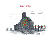 Barn Drawing Prints - Christmas barn Print by Pamela  Lyons