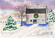 Snow Scene Painting Originals - Christmas Barn by Rita Howard