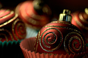 Joy Watson Photography Posters - Christmas Bauble Cupcakes Poster by Joy Watson