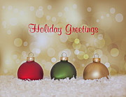 Christmas Greeting Posters - Christmas Baubles Poster by Kim Hojnacki