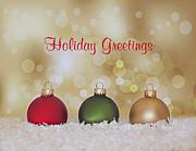 Christmas Baubles Print by Kim Hojnacki