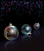 Ribbon Prints - Christmas baubles reflected Print by Jane Rix