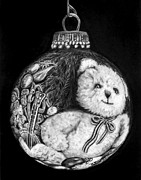 Snow Scene Drawings Originals - Christmas Bear Ornament   by Peter Piatt