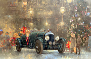 Cards Vintage Framed Prints - Christmas Bentley Framed Print by Peter Miller