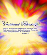 Incarnation Digital Art Posters - Christmas Blessings Poster by Kathleen Luther