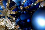 Glass Reflecting Posters - Christmas Blue Poster by Jacqueline Athmann