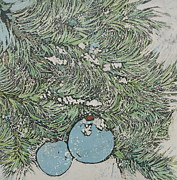 Allphin Batik Framed Prints - Christmas Blue Framed Print by Kristine Allphin
