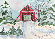 Snow Scene Painting Originals - Christmas Bridge by Rita Howard