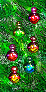 Yellows Digital Art Prints - Christmas Bubble Ornaments Print by Terril Heilman