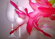 Joyce Dickens - Christmas Cactus And Two Glasses - Merry Christmas