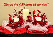Netting Prints - Christmas  Candels Print by Linda Phelps