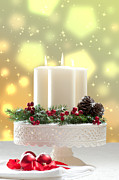 Ribbon Photo Posters - Christmas Candle Decoration Poster by Christopher and Amanda Elwell