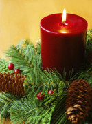 Holiday Greeting Prints - Christmas Candle Print by Diane Diederich