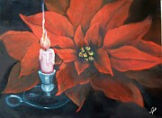 Holiday Paintings - Christmas Candle for Baby Jesus by Joni McPherson
