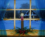 Cabin Window Paintings - Christmas Candle by Tom Hoy