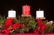 Candle Lit Prints - Christmas candle trio Print by Kenneth Sponsler