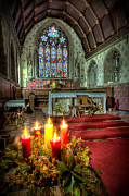 Church Digital Art Prints - Christmas Candles Print by Adrian Evans