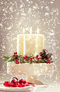 Snow Falling Photos - Christmas Candles by Christopher and Amanda Elwell