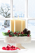 Ribbon Framed Prints - Christmas Candles Display Framed Print by Christopher and Amanda Elwell