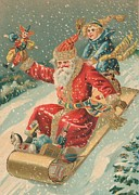 Saint Nicholas Paintings - Christmas card by Dutch School