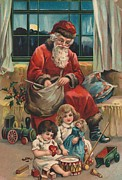 Father Christmas Paintings - Christmas card by French School