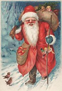 Father Christmas Paintings - Christmas card  by Russian School