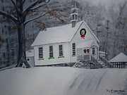 Snowfall Paintings - Christmas Card Version Gates Chapel by Jan Dappen